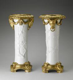 A pair of blanc-de-Chine porcelain vases with gilt-bronze mounts. 1730