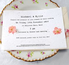 Pressed Flower A5 Invite on Plantable Seed Paper