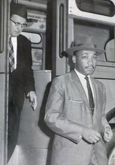 Montgomery Bus Boycott (1955):  The Rev. Martin Luther King Jr. and Glenn Smiley leave a city bus after a U.S. Supreme Court ruling desegregating Montgomery buses took effect.