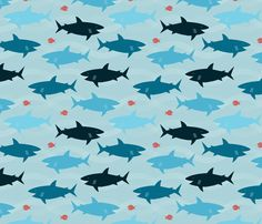 Happy Sharks fabric by jenimp on Spoonflower-- definitely the backing I want to use for Sam's quilt, it's perfect