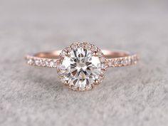 bague de fiançailles Moissanite brillant 1ct Or Rose diamants