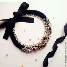 Collar hilo, cadena y Perlas