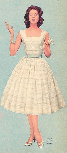 vintage fashion photo print ad color white eyelet lace dress blue bow belt full skirt day picnic 50s model hairstyle