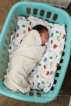 "This lady sleeps her babies in a laundry basket until they are too big. Other pinners said, ""What a great idea! You can move em anywhere and they still feel like they're in their bed!!! "" Bassinets are large and only used for a short time. Then what? This could be a nice alternative for a bassinet. by Maiden11976"