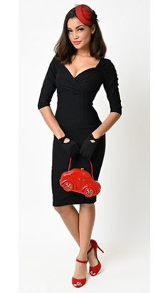 1950s Black Quarter Sleeved Diva Stretch Wiggle Dress
