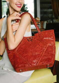 Paint The Town Tote in Rust Boa - preorder yours now at >>>WWW.KELLYWYNNE.COM<<< #daretobefabulous xo