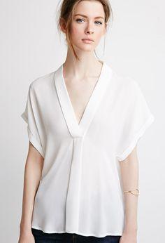 Contemporary V-Neck Shawl Collar Blouse