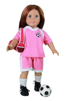 """Soccer Outfit for American Girl and 18"""" Dolls - 6 pc Clothes Set w Shorts, Shirt, Socks, Cleats, Sports Bag, and Ball - Toys 4 My Kids"""