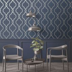 Laticia Geometric Trellis Wallpaper Navy Blue and Silver Feature Wall Holden Decor 65493 Silver Living Room, Navy Living Rooms, Silver Bedroom, Blue Living Room Decor, Blue Feature Wall Living Room, Navy Blue And Grey Living Room, Feature Walls, Blue Grey Wallpaper, Silver Wallpaper