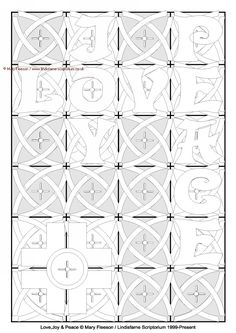 Lindisfarne Scriptorium, the Gallery : Love, Joy and Peace - Multicoloured Meditations - Downloadable / Printable - Colouring Sheet [MC-1538] - £4.00,