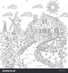 Farm House Windmill Water Well Mail Box Rabbits And Woodpecker Bird Freehand Sketch Drawing For Adult Antistress Coloring Book In Zentangle Style