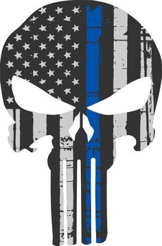 Punisher Skull American Flag Police Blue Line Decal Sticker Graphic - 3 Sizes #3M
