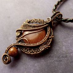 Brown Goldstone copper wire wrapped from Pillar of Salt Studio