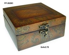 Cheungs Rattan Wooden Box with Swirl Design and Latch Hook - FP-2628C
