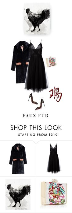"""""""Dancin' where the stars go blue"""" by iriadna ❤ liked on Polyvore featuring Shrimps, Valentino, Home Decorators Collection, Christian Louboutin, partydress, fauxfur, partystyle, rooster and fauxfurcoats"""