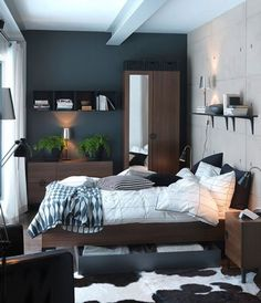 40 Cute Bedroom Ideas: 40 Cute Bedroom Ideas With White And Black Bed And Wooden Wardrobe And Wall Shelves Design