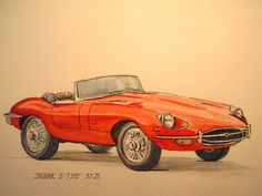 Jaguar etype cabrio red 1960's classic car by SanMartinArtsCrafts, €149.00