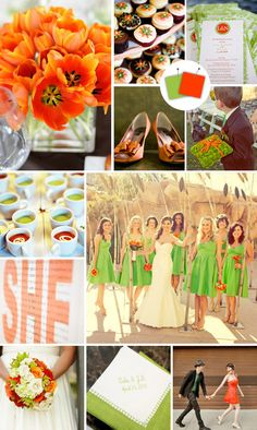 Wasabi & Tangerine (Uhh.. Let's just call it what it is.. green and orange.) wedding color scheme.