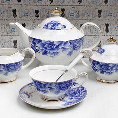 Blue Peony tea set. Via DHgate.com. Also, Blue & White Treasures.