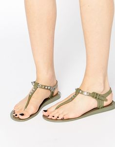 94b527eaa2f0 Shop Religion Solitary Stud Toe Post Jelly Flat Sandals at ASOS.