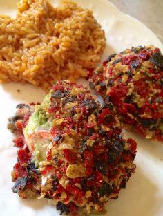 Guacamole stuffed, tortilla crusted chicken