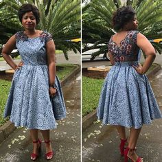 Top lace shweshwe dresses for a walk with their panions & work - pinnerial Latest African Fashion Dresses, African Dresses For Women, African Print Dresses, African Print Fashion, South African Traditional Dresses, Traditional Outfits, African Wedding Attire, African Attire, Seshweshwe Dresses