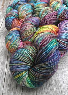 Hand Dyed 80/20 SW BFL Nylon Sock Yarn 4 oz by KinfolkYarnandFibre