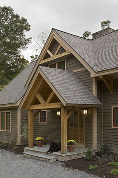 Exterior photo of an Eastern White Pine Woodhouse timber frame