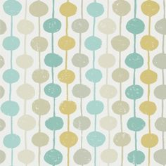 Taimi (111126) - Scion Wallpapers - An all over wallpaper design featuring delightful stripes and circles. Shown here in the seaglass, chalk and honey. Other colourways are available. Please request a sample for a true colour match. Paste the wall product. Large scale pattern repeat.