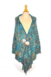 Gipsy Ibiza Poncho Turquoise Brown | omslagsjaal