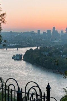 Get dramatic views of Cincinnati, Ohio from Mt. Echo Park,