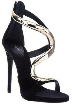Gold wave sandal by Giuseppe Zanotti.