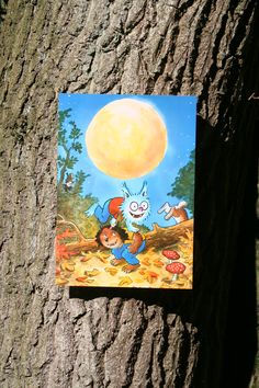 Reuzewenskaart (A4) Dolfje Weerwolfje 'volle maan'