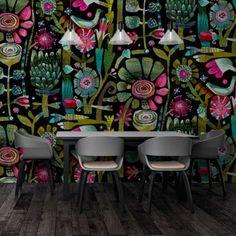 Buy Wallpaper Designs by Este MacLeod - Robin Sprong Wallpapers Vinyl Wallpaper, Print Wallpaper, Textured Wallpaper, Wallpaper Designs, Rye New York, Artist Materials, Hand Illustration, Designer Wallpaper, Textile Design