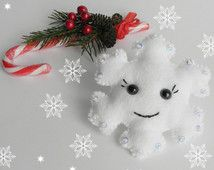 Snowflake Felt Christmas ornament Frozen Snowflake Ornament Sequin Snowflake…
