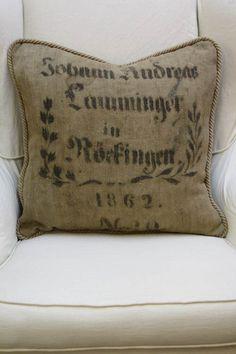 Lovely grain sack pillow.