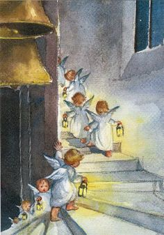 elsa beskow, portraying a spiritual sense of place and security. Elsa Beskow, Angels Among Us, Christmas Angels, Christmas Art, Christmas Images, Christmas Illustration, Illustration Art, Vintage Illustrations, I Believe In Angels