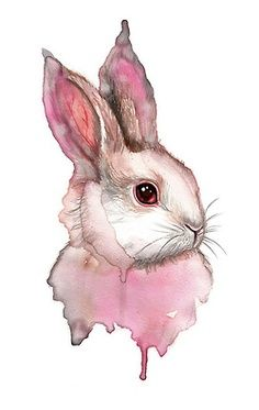 I recently lost my best friend and bunny. so I'm thinking of making a memorial tattoo eventually and a watercolor tat would be perfect (considering I love to paint). watercolor paintings rabbit illustration Vomite un conejito Watercolor Animals, Pink Watercolor, Watercolor Paintings, Tattoo Watercolor, Art And Illustration, Rabbit Illustration, Illustrations Posters, Lapin Art, Rabbit Art