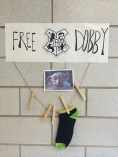 Free dobby! A lost sock sign for the laundry room of our residence hall! Ra life. College.