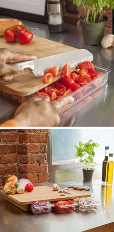 Bamboo Cutting Board // With Storage Drawers Underneath