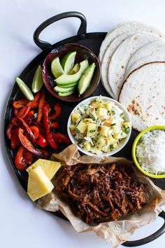 Hawaiian Hula Pork Fajitas with Pineapple Slaw + Coconut Rice // wonderful for a summer, tropical or Hawaii theme party food bar via Half Baked Harvest.sub GF soy and ketchup and Steve's Paleo Goods Sriracha Pork Recipes, Slow Cooker Recipes, Mexican Food Recipes, Cooking Recipes, Healthy Recipes, Dinner Recipes, Dinner Ideas, Recipies, Lasagna Recipes