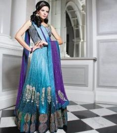 Purple and Teal Gathered Lengha by Sonas Haute Couture by reva