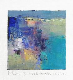 Mar. 13, 2018 - Original Abstract Oil Painting - 9x9 painting (9 x 9 cm - app. 4 x 4 inch) with 8 x 10 inch mat