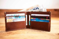 Free Engraving , Custom Mens Leather Wallet , Personalized Mens Wallet , Handmade Monogrammed Engraved Wallet , Anniversary Gifts for men