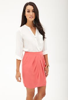 Pleated Woven Pencil Skirt | FOREVER21 - 2000067750
