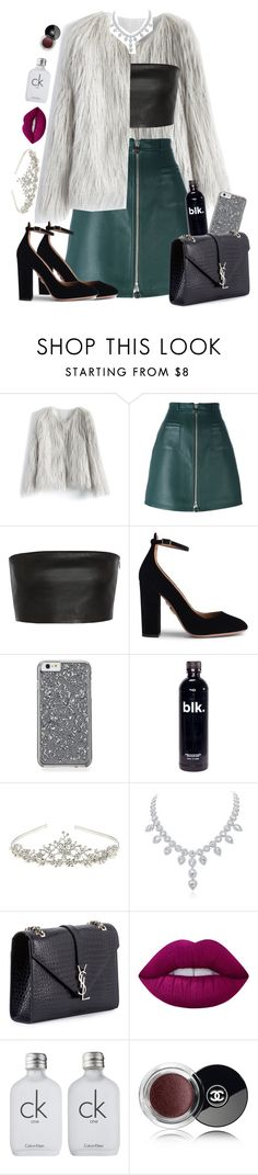 """cast away."" by lovelybarb ❤ liked on Polyvore featuring Chicwish, Carven, Vionnet, Aquazzura, Accessorize, Yves Saint Laurent, Lime Crime, Calvin Klein and Chanel"