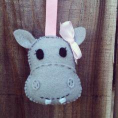 handmade stuffed hippo keychain by jessicatirona on Etsy, $6.00