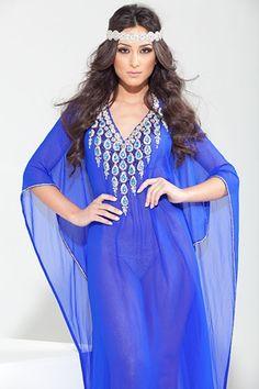 yara yosif blue kaftan