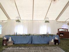Dusty Blue Head Table With Pie Bar Wedding Events, Weddings, Event Photos, Dusty Blue, Pie, Table Decorations, Green, Design, Home Decor