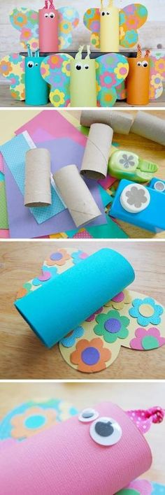 Toilet Paper Tube Butterflies | Click Pic for 22 DIY Spring Crafts for Kid to Make | Easy Spring Craft Ideas for Toddlers by melva